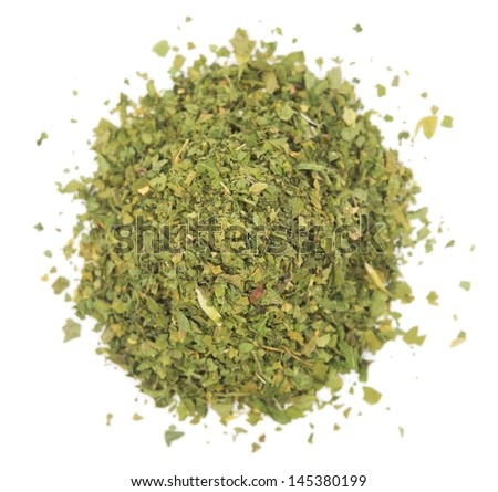 Pile chopped dried parsley leaves isolated on white background #145380199