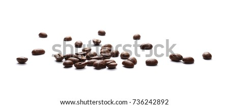 Pile coffee beans isolated on white background and texture, top view