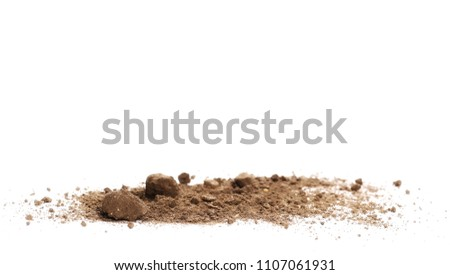 Pile dirt isolated on white background, with clipping path, side view #1107061931