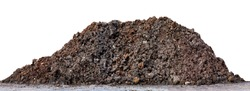 pile dirt isolated on white, dirt hill for construction space, heap black dirt for planting, dirt clay mountain big, mound soil