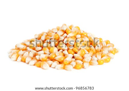 Pile dried corn isolated on white background.