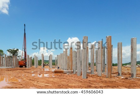 Pile driver with blue sky on construction site Stockfoto ©