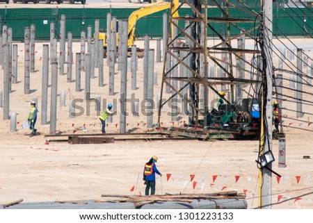 Pile driving work at construction site