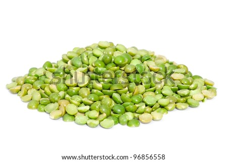 Pile dry split green peas  isolated on white background. Great for soups, puree.