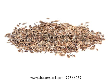 Pile Fennel seeds (Anethum graveolens) isolated on white background. The plant is used in medicine, in perfumery and cosmetics.