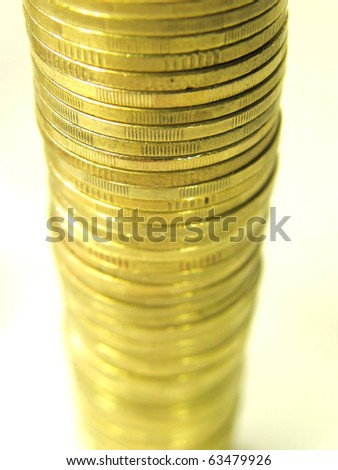 Pile folded coins.