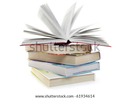 Pile from five books on a white background