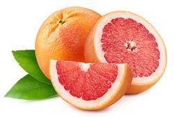 Pile grapefruit. Grapefruit full macro shoot fruit healthy food ingredient on white isolated. Grapefruit clipping path