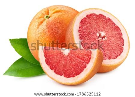 Pile grapefruit. Grapefruit full macro shoot fruit healthy food ingredient on white isolated. Grapefruit clipping path ストックフォト ©