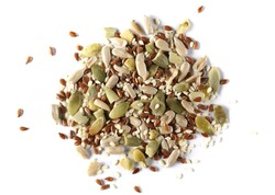 Pile mix seeds, sunflower, sesame, linseed and pumpkin seed isolated on white background, top view