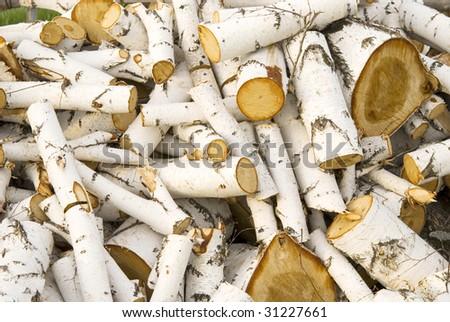 pile of a birch firewood