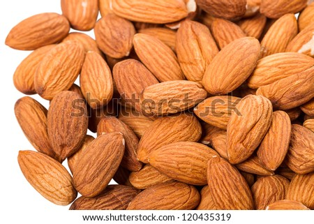 Pile of almond isolated on a white background