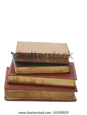 Pile of antique books of the 19th century with golden pages