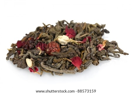 Pile of aromatic jasmin dry tea leaves isolated on white - stock photo