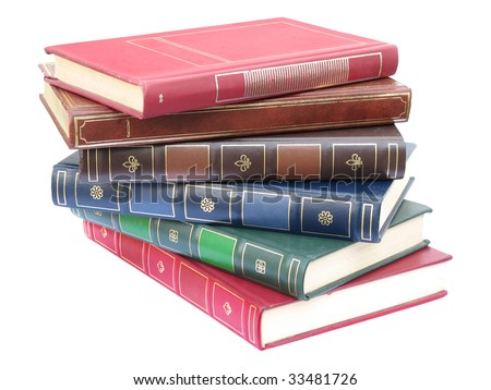 Pile of artificial leather bound books, isolated on white background
