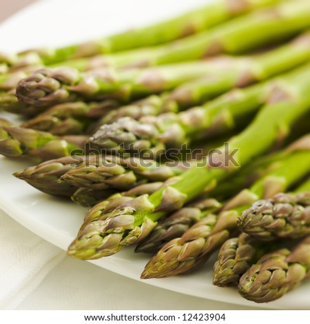 Pile of asparagus on the kitchen table