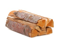 Pile of beech tree firewood isolated on white