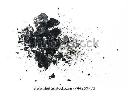 Pile of black coal bars isolated on white background