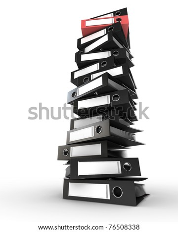 Pile of black folders with one red folder