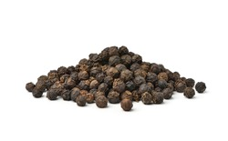 Pile of Black peppercorns (Black pepper) seeds isolated on white background.