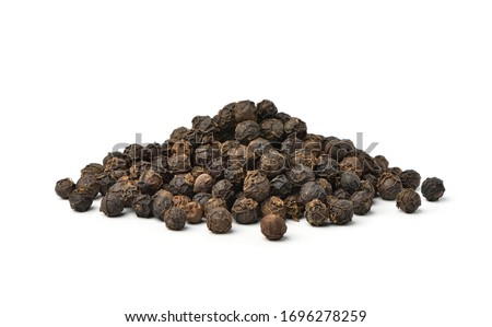 Pile of Black peppercorns (Black pepper) seeds isolated on white background. Stock photo ©