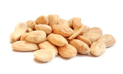 Pile of blanched almonds isolated on white background. Delicious diet food