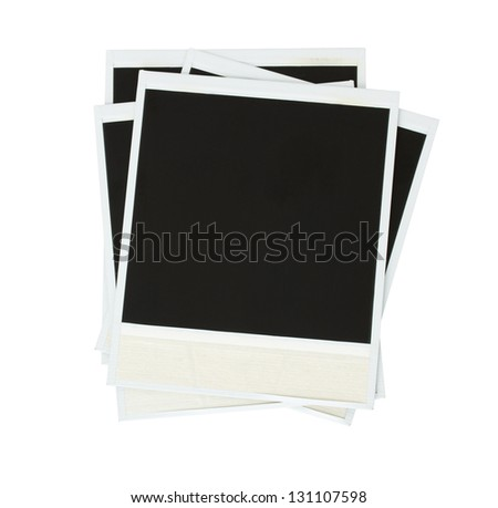 pile of blank instant photo  isolated on white background