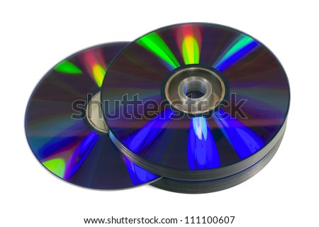 Pile of blank optical discs (CD, DVD or Blu-Ray) isolated on white. Clipping path available.
