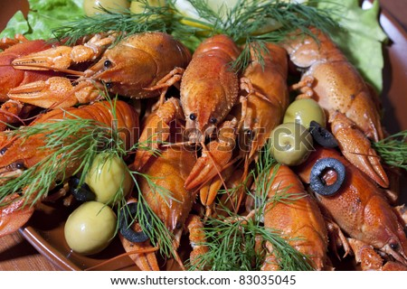 pile of boiled crawfish