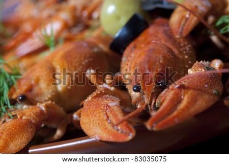 pile of boiled crawfish
