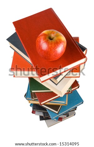 "Pile of books and apple isolated on a white background.  Concept for ""Back to school"""