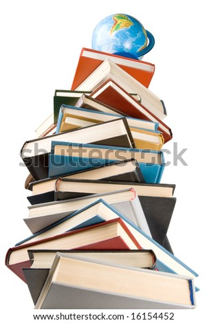 """Pile of books and globe isolated on a white background.  Concept for """"Back to school"""""""