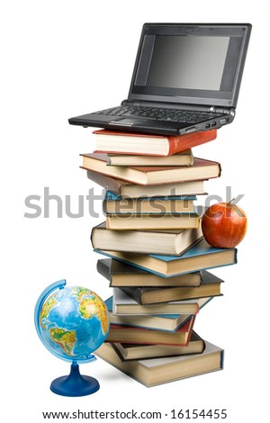 "Pile of books, apple, globe and notebook isolated on a white background.  Concept for ""Back to school"""