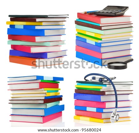 pile of books collage isolated on white background