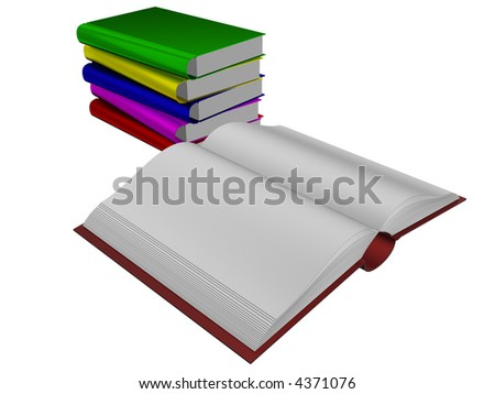 Pile of books. 3D the isolated image