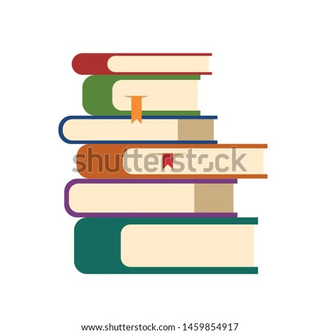 Pile of books icon. Textbooks with hard cover stacked on each other on bookshelf. Symbol of encyclopedia, bookstore, study at school or university. Education concept. Flat illustration.