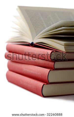pile of books isolated
