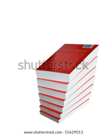 Pile of books isolated in white