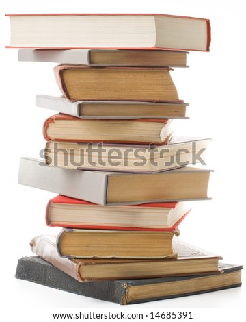 """Pile of books isolated on a white background.  Concept for """"Back to school"""" - stock photo"""