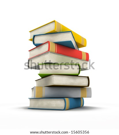 pile of books - isolated on white background - 3d render - stock photo