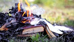 Pile of books on the fire, burning books