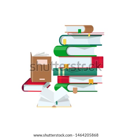 Pile of books with colorful covers and bookmarks isolated on blue background. Stack of hardcover textbooks or literature works. University education, reading, studying. Cartoon illustration