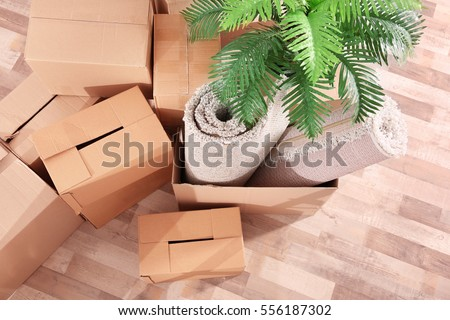Pile of boxes for moving in office