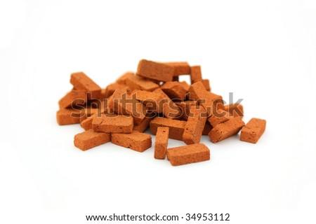 Pile of bricks isolated