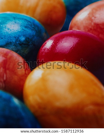 Pile of brightly colored Easter eggs