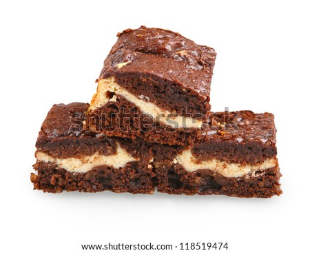 Pile Of Brownies With White And Dark Chocolate Isolated On White Stock ...
