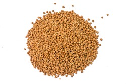 Pile of buckwheat isolated on white background. Top view. Buckwheat. Stockpiling. Buckwheat grains. Grain culture. Гречка. Pandemic