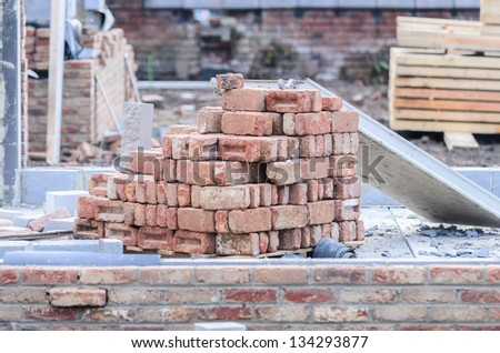 Pile of Builders Bricks waiting to be used on site