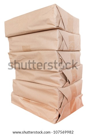 Pile of bundles with something. It can be books, magazines or something like that in this bundles