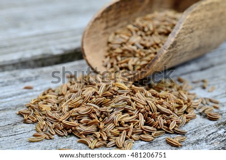 pile of caraway on wooden table